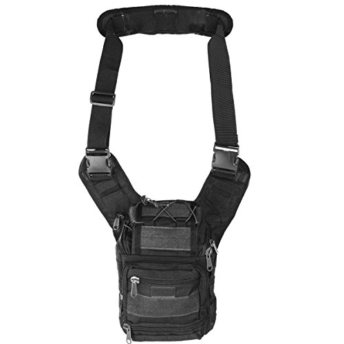Tactical Tasche Messenger Umhänge-Tasche mit Schulter-Gurt Molle wasserfeste Nylon Reisetasche Tactical (Schwarz) (Schulter Tasche)