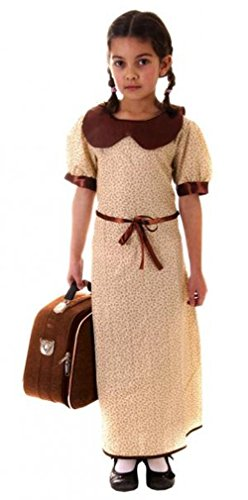 der Kostüm Outfit Alter 4-12, Braun (Evacuee Kostüm Mädchen)