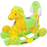 Her Home- Murphy Super - Musical Baby Horse 2-in-1 - Rocker Cum Ride-on With Backrest For Kids - Green Color