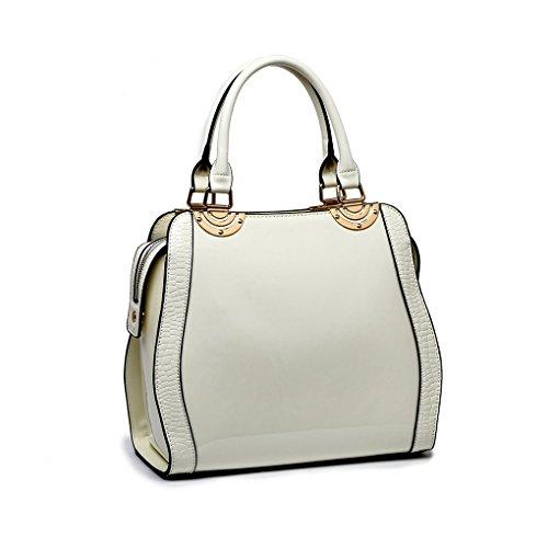 LeahWard® Übergröße Patent Schulter Taschen Damen Mode Essener Qualität Modisch Tote Handtaschen CWS00380 (OXFORD blau Tragetasche) CW Weiß