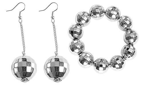 shoperama Damen Schmuck Set Discokugel Spiegelkugel Armband Ohrringe Silber Kostüm-Zubehör 70er Siebziger 80er Achtziger (Siebziger Und Achtziger Jahre Kostüm)