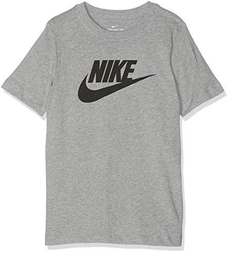 Dk Grey T-shirt (Nike Jungen B NSW Tee Futura ICON TD T-Shirt, dk Grey Heather/Black, M)