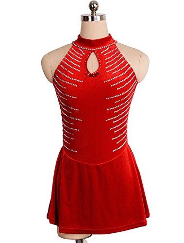 Rot Samt Kostüm - Handarbeit Eiskunstlauf Kleid für Mädchen Frauen Rollschuhkleid Wettbewerb Leistung Kostüm Samt Kristalle Ärmellos Rot, XL