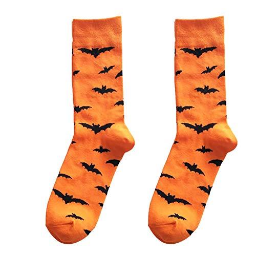 Halloween Calzini Divertenti Morbido Cotone Calzini Creativo Bat Pattern Di Assorbire Il Sudore Calzini Respirabili Strane Calze Per Donne Degli Uomini 1pc Arancione