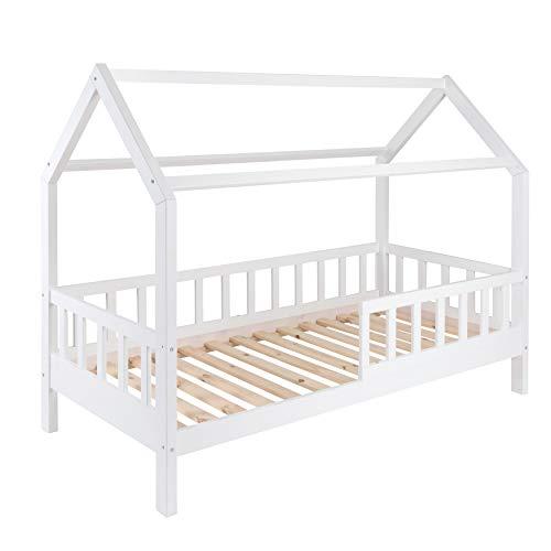 Hausbett für Kinder 90x200 cm - Schönes Kinderbett aus Holz mit Rausfallschutz | Jugendbett im skandinavischen Haus Stil | 90 x 200 Kiefer Bett inkl. Lattenrost | Massivholz Weiß -