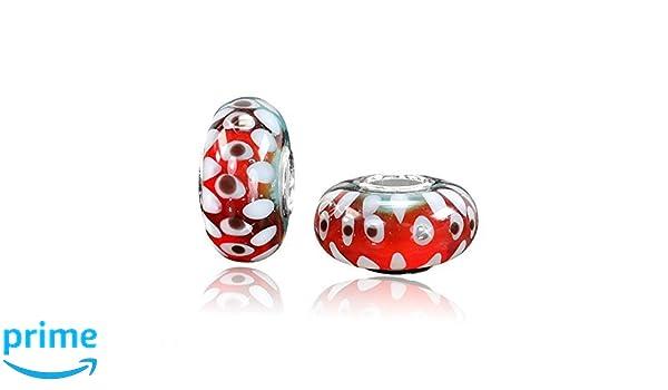 MATERIA Muranoglas Beads Perle RAUPE Silber 925 Rot Weiß für Beads Armband