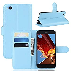 MISKQ Funda para Xiaomi Redmi Go,Funda con diseño de Cartera,Estuche para el teléfono Anti caída,Estuche de Silicona(Azul)
