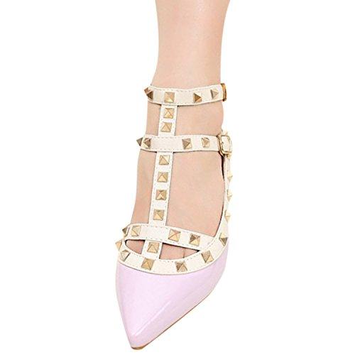 Oasap Women's Pointed Toe Rivet Buckle Flat Shoes purple