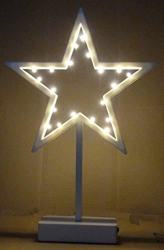 Weihnachtsstern LED Dekoleuchte Stern Lichterstern Dekostern mit 20 LED 38 cm