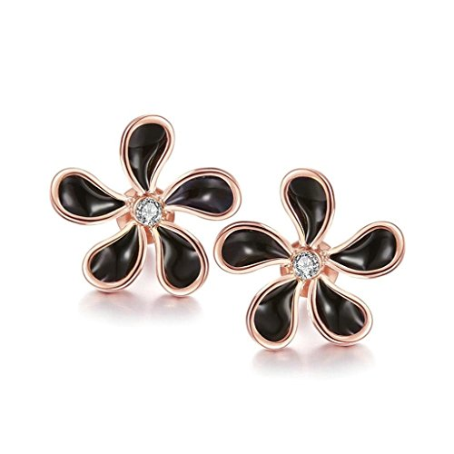 gnzoe-jewelry-18k-rose-gold-stud-earrings-women-flower-black-oil-drip-crystal-eco-friendly