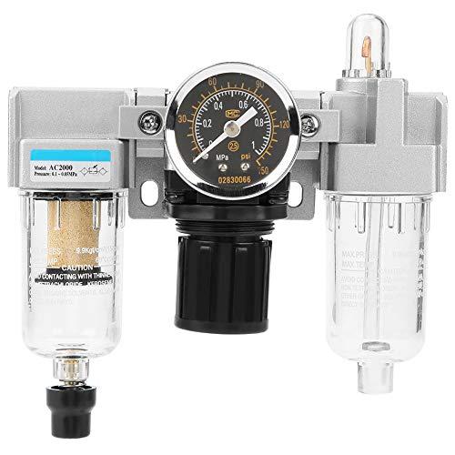 Akozon Filtro de Aire Regulador G1/4 0.1~0.85Mpa 500L/min Tipo de desbordamiento (AC2000-02)