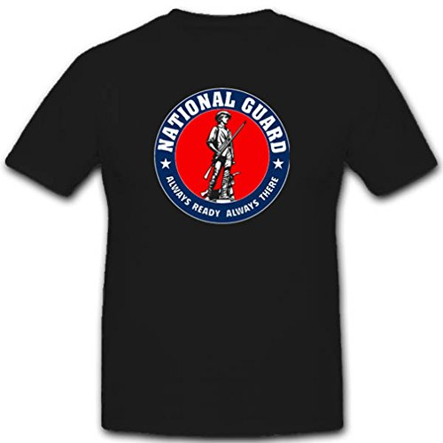 National Guard USA Militär US Armee Nationale Einheit Wappen Abzeichen paramilitärische Organisation T Shirt #2817, Farbe:Schwarz, Größe:Herren 3XL (T-shirt Guard National)