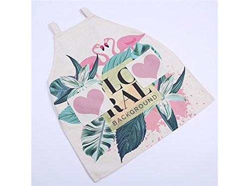 Huertuer Grillzubehör Kreatives Karikatur-Liebes-Flamingo druckte Baumwollleinenschutzblech mit Tasche für Küchen-Buchstabe-Arbeitsschutzblech in der Küche