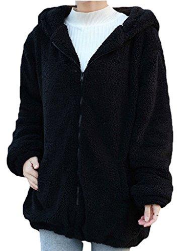 Minetom Donne Ragazza Inverno Sciolto Soffice Orecchie Orso Zipper Felpe
