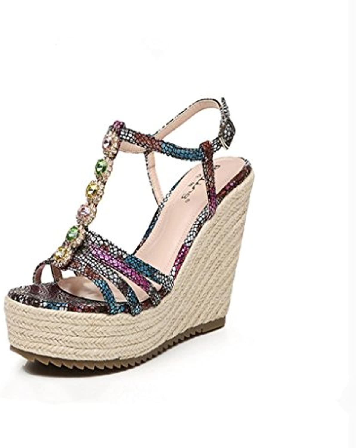 a9d5f4f63c04 BaiLing Women s Women s Women s summer sandals Wedge Heel handmade knitted  straw waterproof printing thick bottom small size shoes.