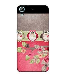 PrintVisa Designer Back Case Cover for HTC Desire 728 (three owls on flower branches)