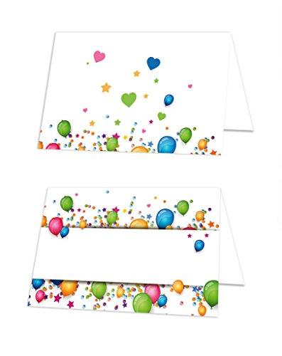 50pieza azul rojo amarillo verde Globos de globos para niños mesa tarjetas Nombre de etiquetas para nombre kärtchen pequeñas asiento Tarjetas Espacio Tarjetas–con cualquier lápiz escribir.