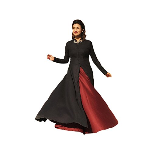 New Designer Red And Black Ishita Flax Cotton Gown With Beautiful Mattel Patch