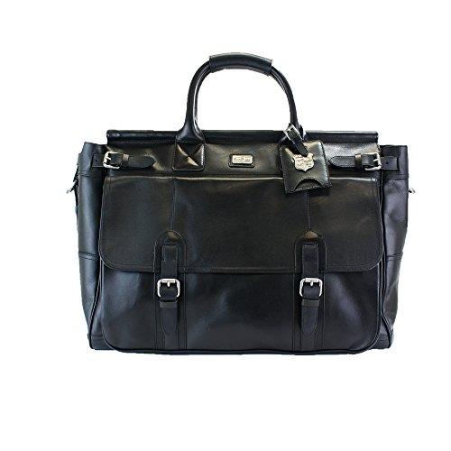lanlay 100% Premium Sac Weekender en cuir véritable, Bandoulière Réglable Noir