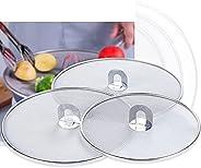 ELECDON Grease Splatter Screen for Frying Pan with Fold Flat Knob Fine Mesh Oil Splash Guard Skillet Splatter