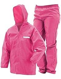 BUCKETLIST Solid Waterproof Raincoat Set of Pant & top for Kids with Hood, Age 8-10 Years(Pink)