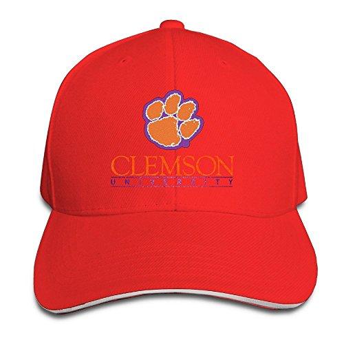 Huseki Hotgirl4 Adult Clemson University Footprint Sandwich Bill Baseball Hat White Red Clemson University Baseball