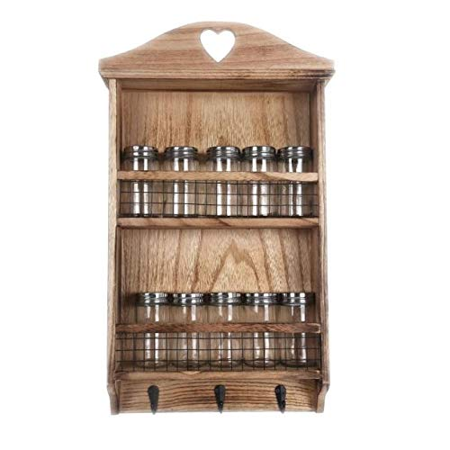 Rustic Shelf Wooden Hanging Spice Rack Kitchen Herbs Shelving Storage Organizer Holder Wall Mounted Shelves with Hooks Screw & 10 Jars