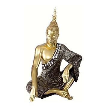 Figura de Buda sentado en resina y tela - Color dorado (32x22x48 cm) 5