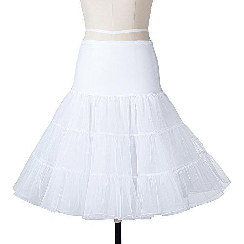 APXPF Damen Vintage 50s Rockabilly Petticoat Röcke Tutu Krinoline Underskirt groß Weiß