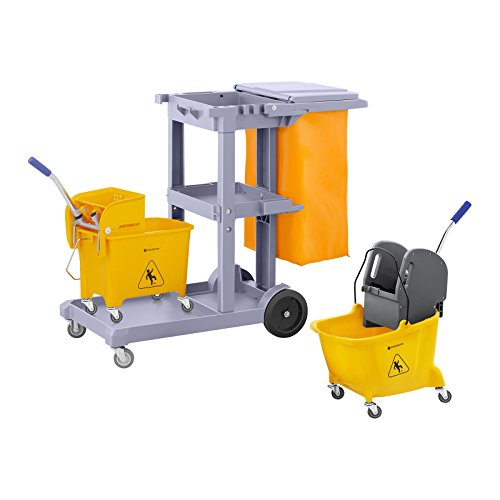 Singercon Reinigungswagen Set mit Wäschesack Deckel und 2 Putzwägen CON.JT-WBWC with Cover Set (3 Abstellflächen, Räder 360° drehbar, Wäschebeutel, Putzeimer mit Trennsystem)