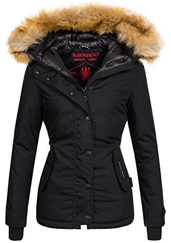 Navahoo warme Damen Winter Jacke Winterjacke Parka Mantel Laura2 Kunstfell B392 [B392-Laura2-Schwarz-Gr.M]