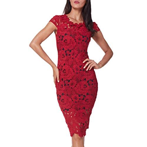 Mode FéMinine Solide O-Cou à Manches Courtes Robe Moulante Robe Fourreau en Dentelle(Rouge,X-Large)