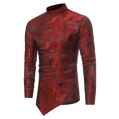 Sliktaa -  camicia classiche - vestito modellante - manica lunga - uomo wine red xl