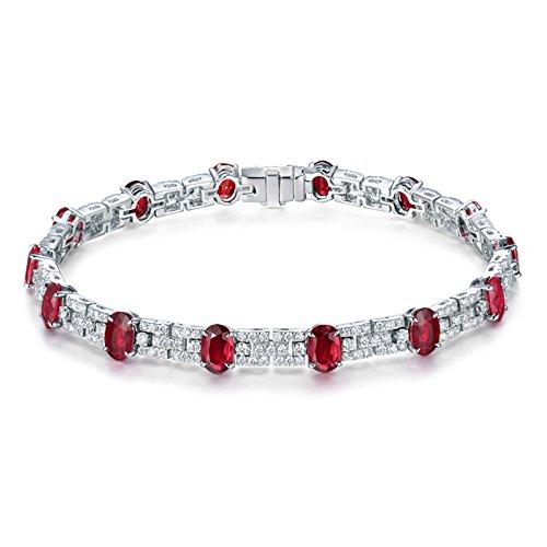 Massive 18Karat Weiß Gold BRILLIANT Diamant Rot Ruby Armband Kette für Frauen Hochzeit