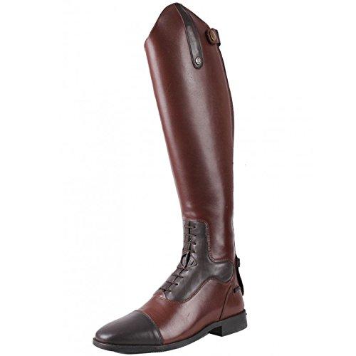 QHP Damen Leder-Reitstiefel Verena mit mehr Komfort Normale Wadenweite (42, Dunkelbraun)