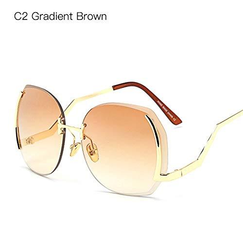 CUYAG Sonnenbrillen Sonnenbrille Einzigartige Herz Sonnenbrille Frauen Mode Randlose Metall Gebogen Tempel Pink Shades Uv400 Brillen A -
