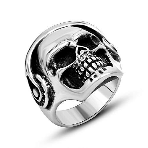 YDMSGSB Ring Shantou Schädel Schwarze Augen Kopfhörer GeisterkopfRing Punk Persönlichkeit Herren Nachtclub Zubehör Jewelry-8#