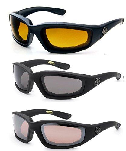 Chopper 3 Paar s Brille Padded Rahmen Lense-Block 100% Uvb für Outdoor-Aktivitäten Sport (Hd - Smoke - Bernstein) 2 Schwarz eine Größe passt meistens High Definition - Smoke - Bernstein