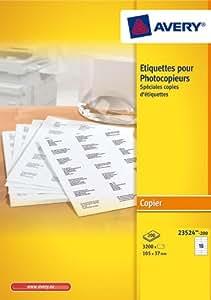 Avery 3200 Etiquettes Autocollantes pour Photocopieur Monochrome - 105x37mm - Impression copieur - Blanc (23524)