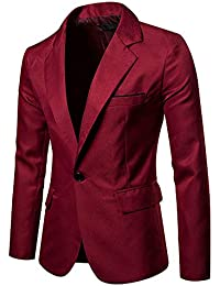Longra Blazer Giacca Uomo Slim Fit Elegante Formale Casual Vestito di  Affari Cappotto Giacca One Button 1ecf102109f