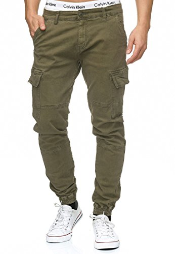 Indicode Herren August Cargo Cargohose Pants Chino Hose Stoffhose aus Stretch-Material Regular Fit Army XL