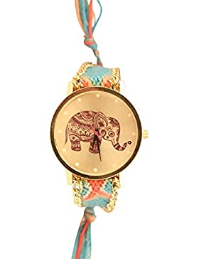 Damen Armbanduhr Trenduhr Elefant Ethno Blogger Hipster Vintage Stoff Analog Quarz gold / blau lw012