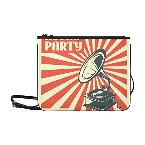 SHAOKAO Handgezeichnetes Grammophon mit Musikmuster Benutzerdefinierte hochwertige Nylon Slim Clutch Crossbody Tasche Umhängetasche