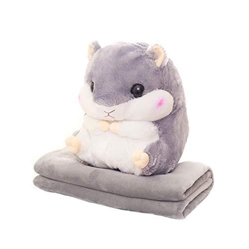 (Chinashow Schöne 3D Hamster Plüschtier Kreative Sofakissen mit Flanelldecke Multifunktions Wurfkissen und Ruhedecke Set Grau)