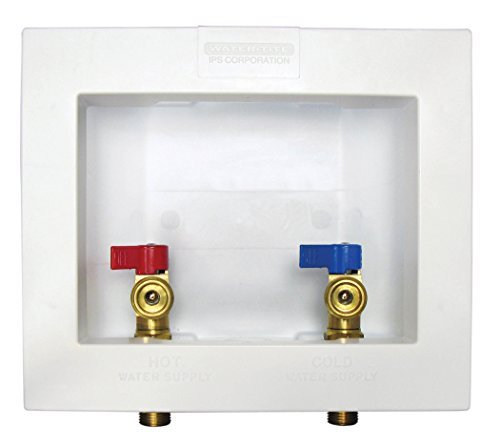 Water-Tite 82064 Econo Center Drain Washing Machine Outlet Box with Brass Quarter-turn Valves Installed, 1/2 Sweat Connection, White by Water-Tite -