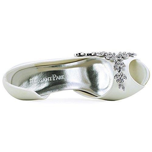 ElegantPark EP11045-IP Escarpins noeud Femme Chaussures de mariee mariage soiree AC01 Ivoire