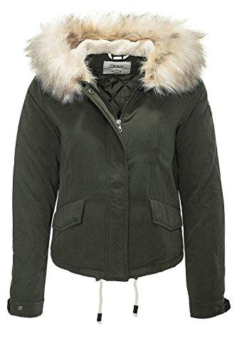 ONLY Damen onlSKYLAR FUR Parka CC OTW Jacke, Grau (Peat), 40 (Herstellergröße: L)