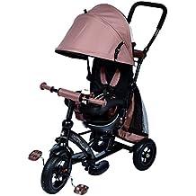 Cochecito triciclo Ricco Kids Easy Steer XG6019 con tejido Oxford, pedales y asiento reversible, colormarrón chocolate