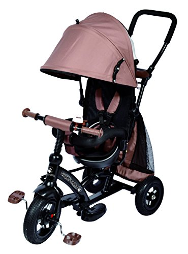 Cochecito triciclo Ricco Kids Easy Steer XG6019 con tejido Oxford, pedales y asiento reversible, color marrón chocolate