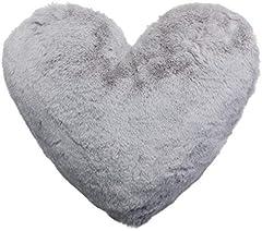 Idea Regalo - Brandsseller - Cuscino a forma di cuore, in peluche, ca. 40 x 30 cm, grigio chiaro, ca. 40x30 cm